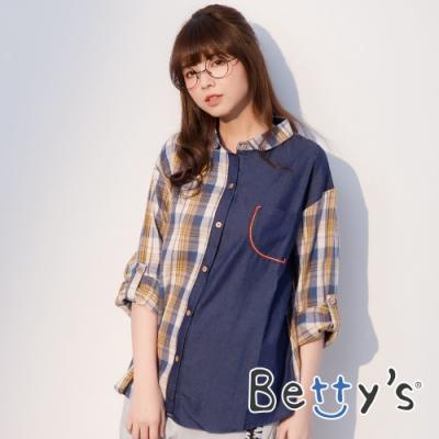 betty's貝蒂思 牛仔拼接格紋襯衫(黃格子)