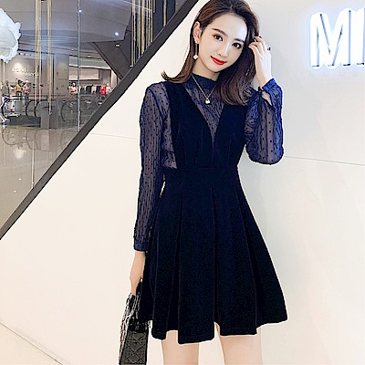 DABI 韓系蕾絲金絲絨長袖背帶裙子套裝長袖裙裝
