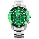 羅梵迪諾 Roven Dino 歐風獨特 藍寶石水晶玻璃 不鏽鋼手錶-綠x銀/43mm