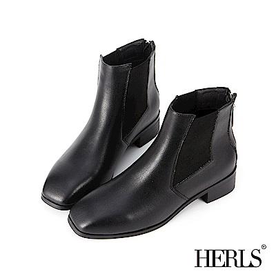 HERLS 側鬆緊切爾西素面方頭短靴-黑色