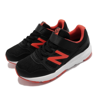 New Balance 慢跑鞋 570 Wide 寬楦 童鞋 紐巴倫 緩震 透氣 涼爽 魔鬼氈 中童 黑 橘 YT570CRZ-W