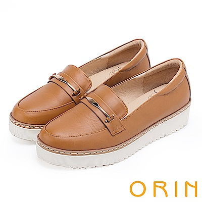ORIN 復古學院風 金屬飾條牛皮厚底平底鞋-棕色