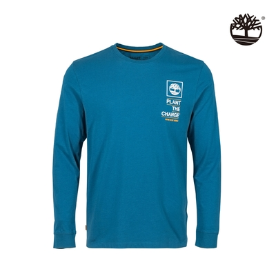 Timberland 男款藍色NATURE NEEDS HEROES圖案有機棉長袖T恤 A4332G94