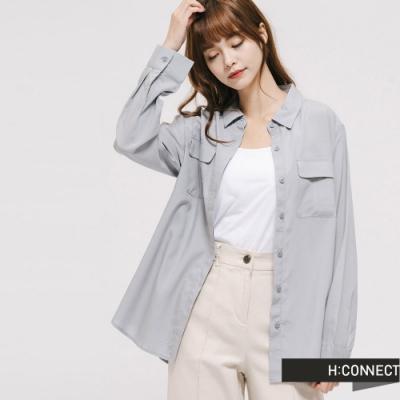 H:CONNECT 韓國品牌 女裝 - 純色雙口袋襯衫 - 灰