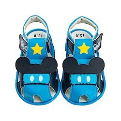 迪士尼童鞋 米奇 星星寶寶嗶嗶涼鞋-藍