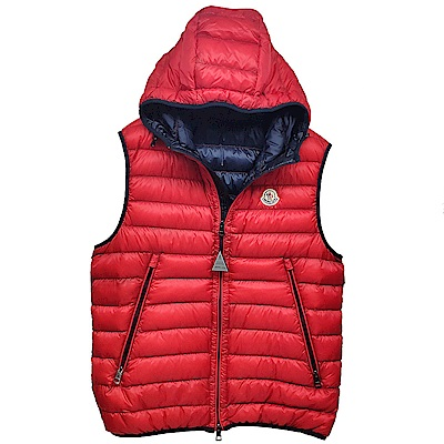 MONCLER MORELLET品牌經典羽絨車縫連帽背心(紅/黑)