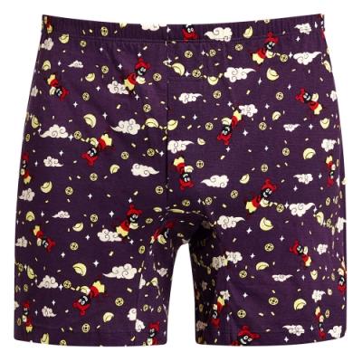 DADADO-鼠來寶 M-3L 印花四角男內褲(紫)舒適寬鬆
