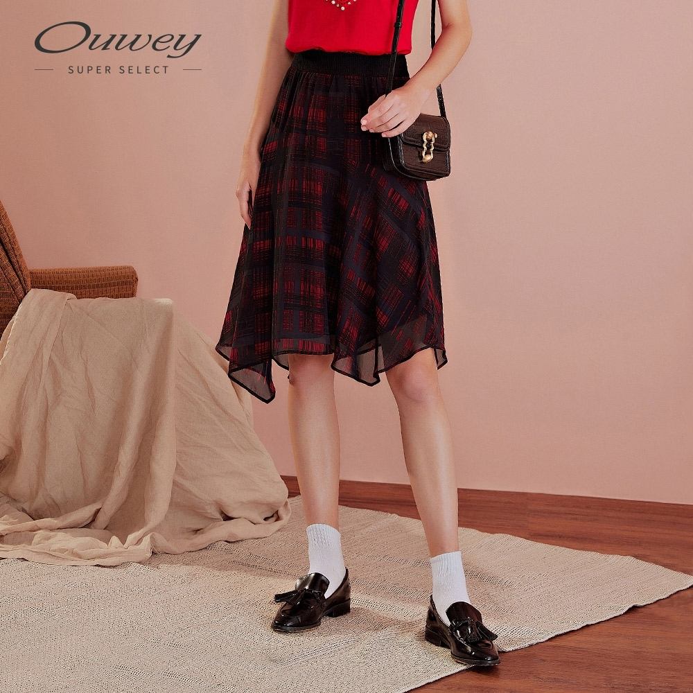 OUWEY歐薇 經典格紋雪紡長裙(紅)