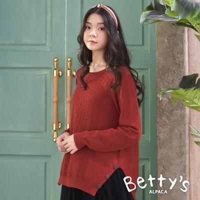 betty's貝蒂思 素面圓領造型毛衣(紅色)