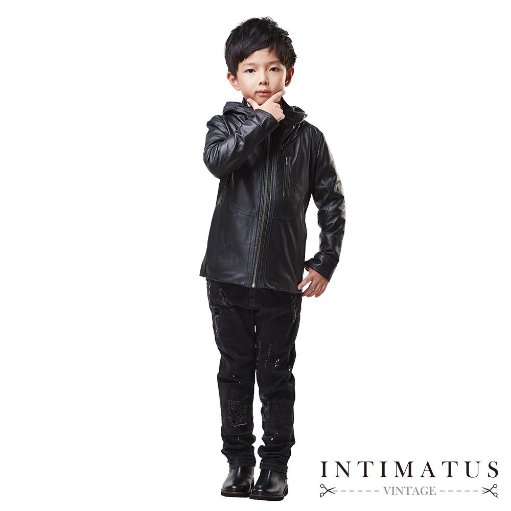 INTIMATUS 真皮 連帽長版皮衣 男童裝 帥氣黑色