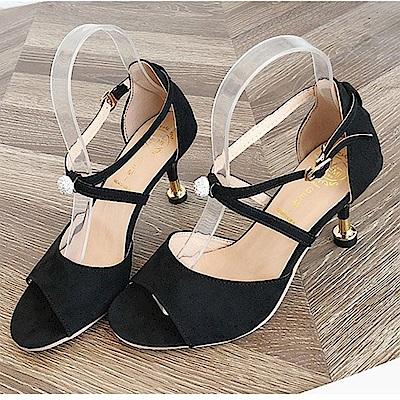 KEITH-WILL時尚鞋館 韓式名媛個性小星星粗跟鞋-黑色