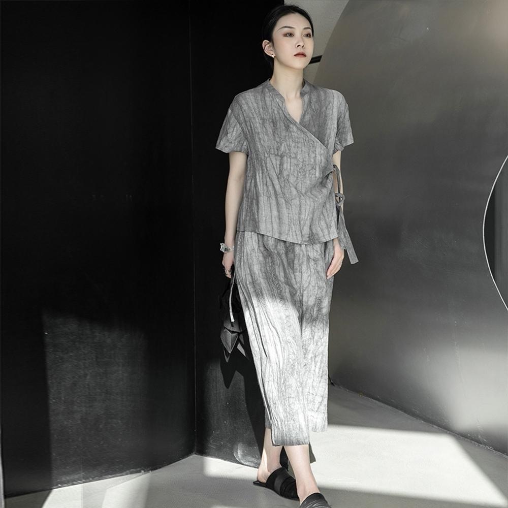 設計所在Style-禪系中國風做舊髒洗褶皺亞麻料套裝