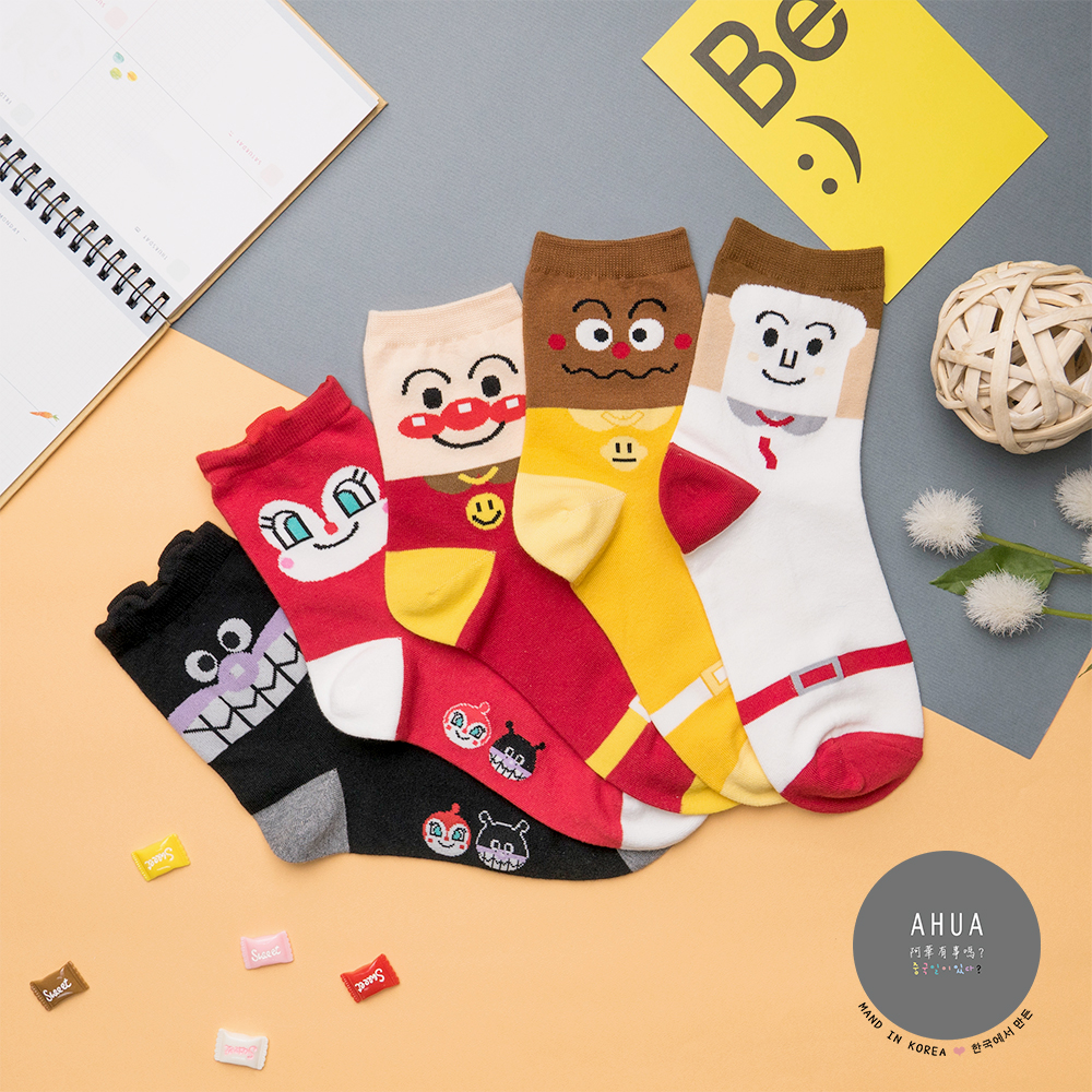阿華有事嗎 韓國襪子 麵包超人卡通中筒襪 韓妞必備長襪 正韓百搭純棉襪