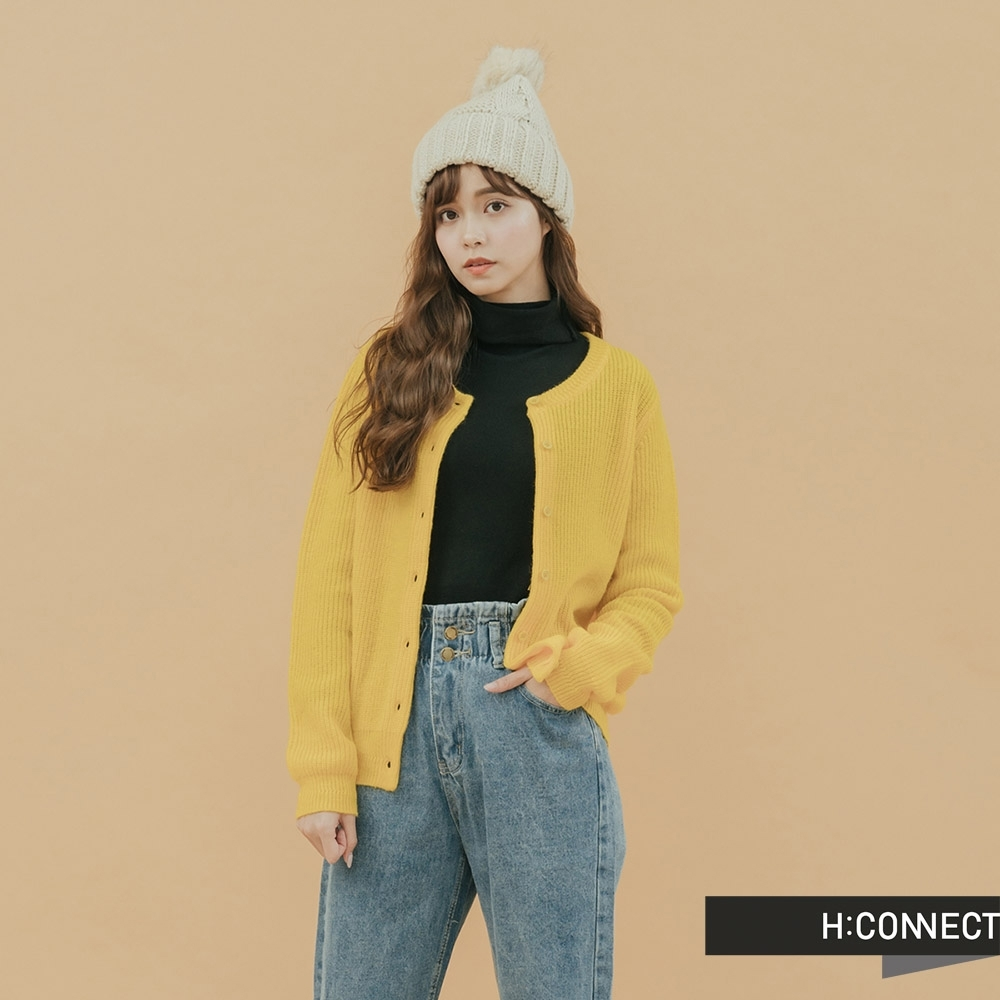 H:CONNECT 韓國品牌 女裝 - 羅紋排扣針織上衣-黃