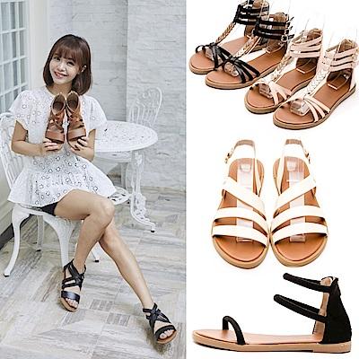 [時時樂限定]River&Moon大尺碼韓版羅馬涼鞋 多款選