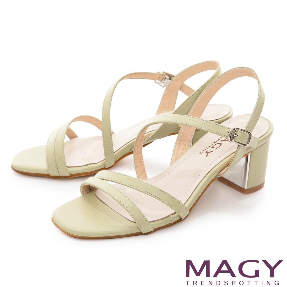 MAGY 細版真皮斜邊踝繞帶中跟 女 涼鞋 綠色