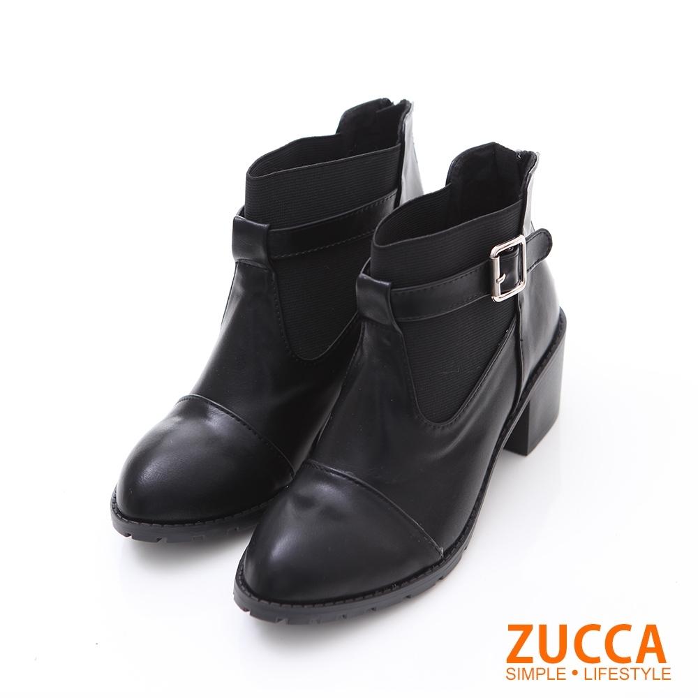 ZUCCA日系質感皮革扣環低跟靴-黑色-z6232bk