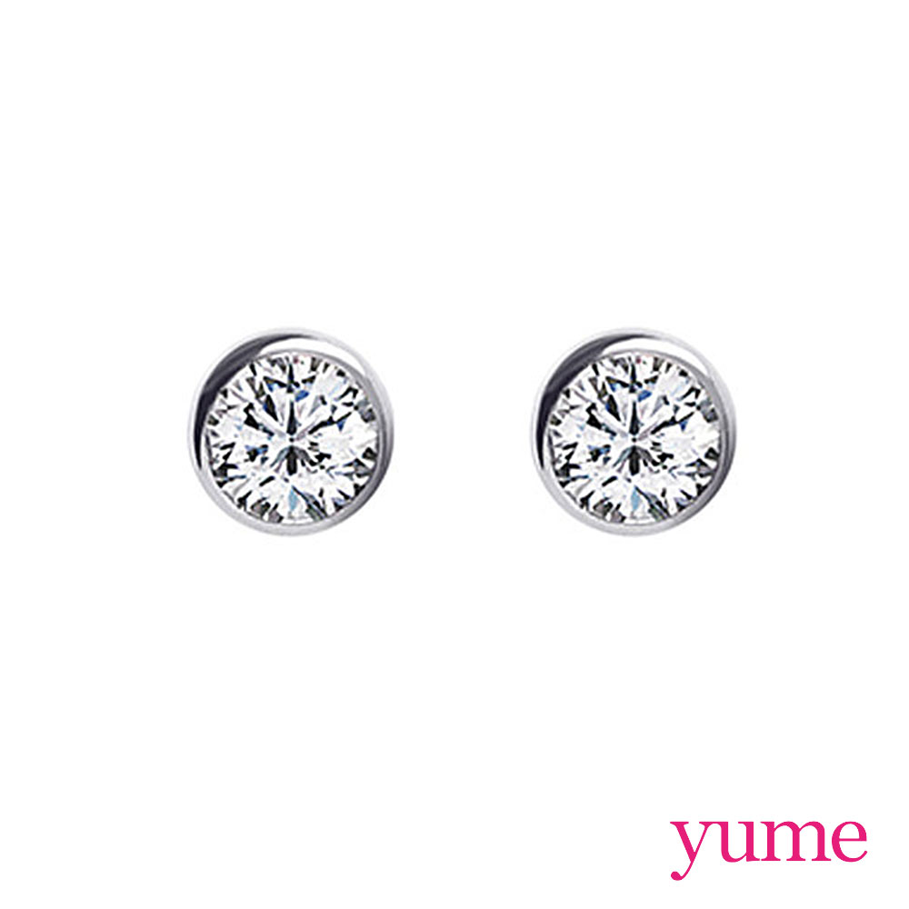 YUME 單鑽包鑲耳環(5mm)