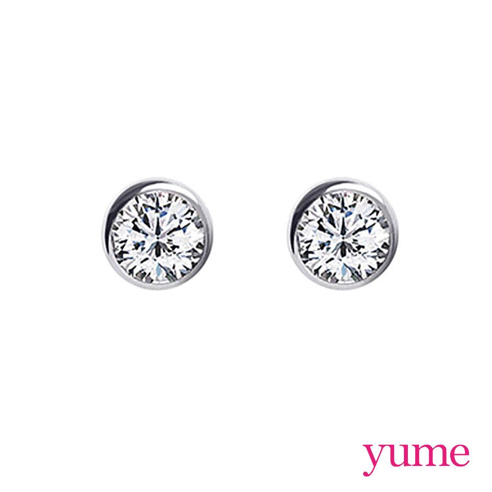 YUME 單鑽包鑲耳環(6mm)