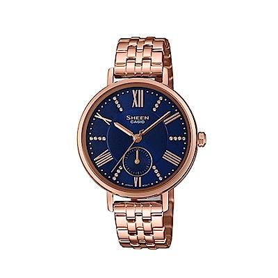 CASIO 卡西歐 Sheen 羅馬假期優雅手錶-玫瑰金x藍/34mm