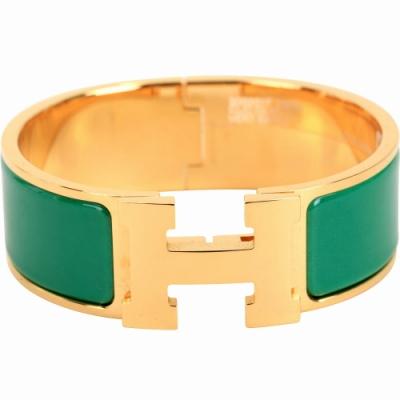 HERMES Clic Clac H PM 經典LOGO設計手環(綠x金)