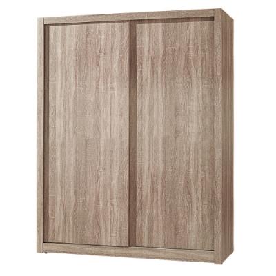 【AT HOME】日式簡約5X7尺淺灰橡木紋推門衣櫃(凱文)
