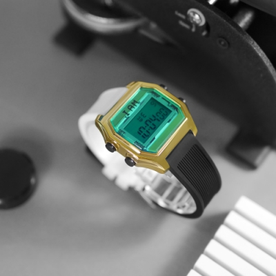 I AM 電子液晶 繽紛色彩 錶帶自由搭配 矽膠手錶-藍綠x金x黑 33mm