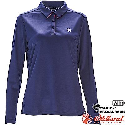 Wildland 荒野 0A71661-72深藍色 女椰炭紗本布領長袖上衣