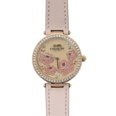 COACH 簡約款LOGO刺繡花朵裝飾手錶(粉)