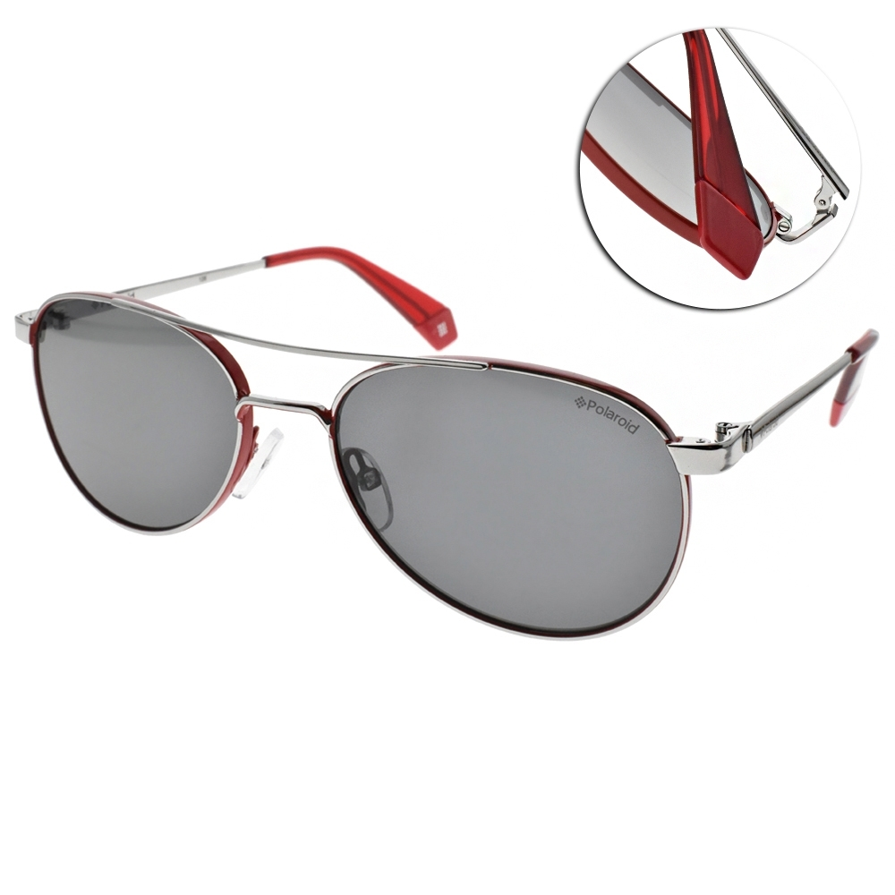 Polaroid 偏光太陽眼鏡 乘風造型款/紅銀-灰 #PLD6070SX J2BM9