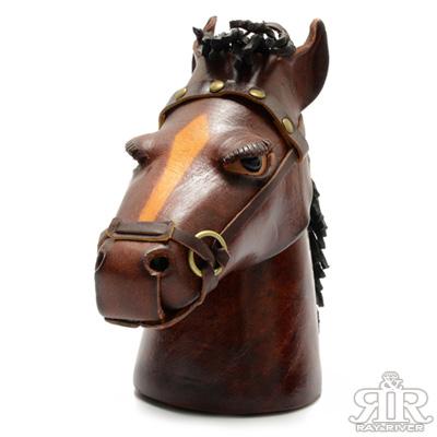 2R 樹羔皮革Funny手工雕製鬃馬存錢筒 深咖啡