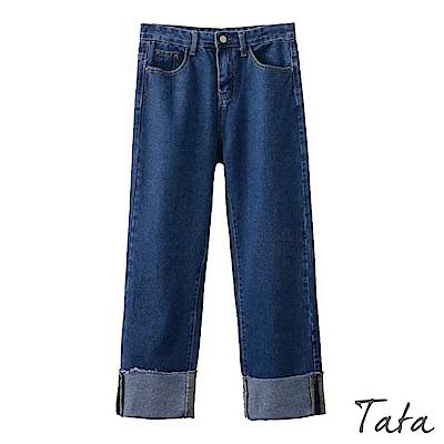 褲腳鬚邊黃線反摺牛仔褲 共二色 TATA
