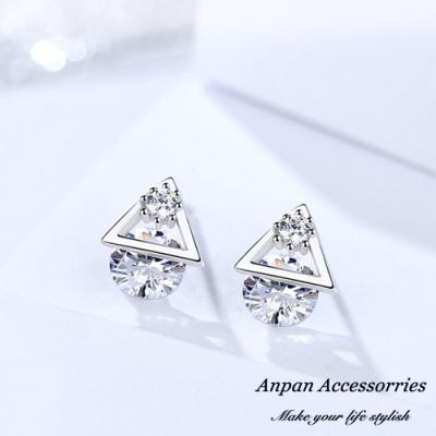 【ANPAN愛扮】S925純銀飾 小清新創意三角白金鑽石耳釘式耳環
