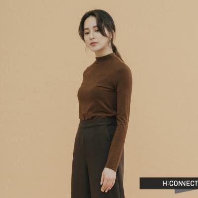 H:CONNECT 韓國品牌 女裝-素面小立領合身上衣-棕