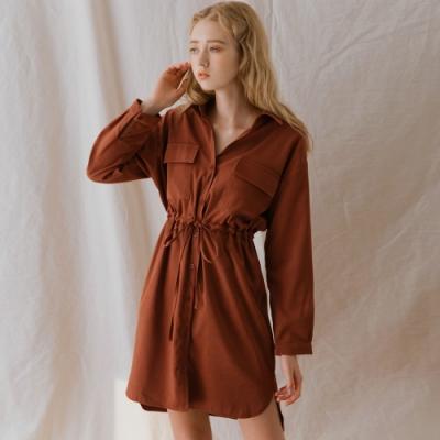 AIR SPACE LADY 工裝風綁帶長袖襯衫洋裝(焦糖)
