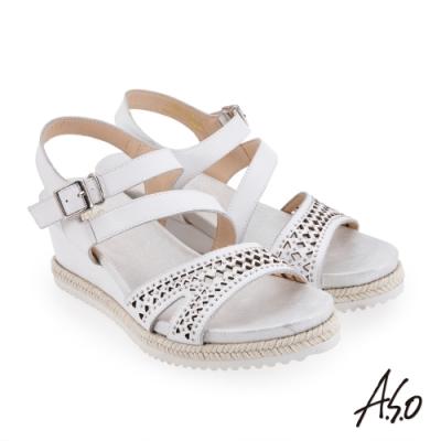 A.S.O 時尚流行 摩登時尚沖孔風格楔型涼鞋-白
