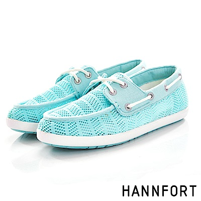 HANNFORT CALIFORNIA抽繩帆船鞋-女-湖水綠