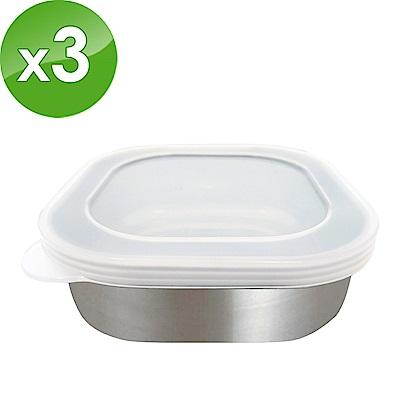 日本ECHO 不鏽鋼方型保鮮盒附蓋 3入組(快)