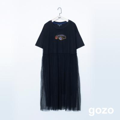 gozo 趣味印花網紗拼接假二件洋裝(二色)