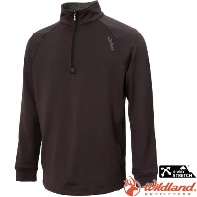 Wildland 荒野 0A72610-101煙灰色 男彈性立領拉鍊保暖上衣/小立領中層衣
