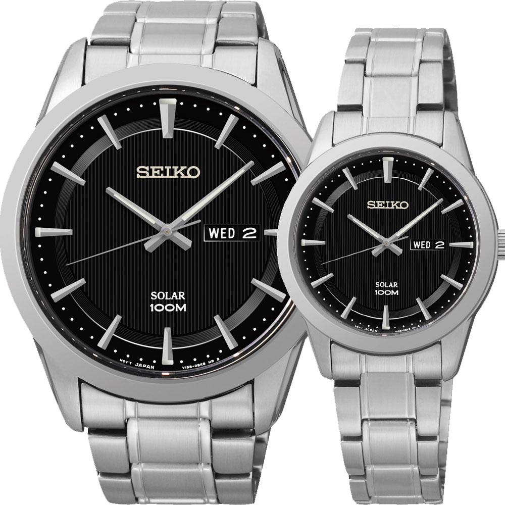 SEIKO CS太陽能情人對錶(SNE363P1+SUT161P)-黑/44+28mm