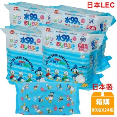 日本LEC 迪士尼唐老鴨-純水99%濕紙巾-80抽x24包/箱