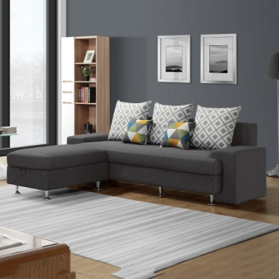 MUNA 福斯L型灰色布沙發(全組) 235X166X75cm