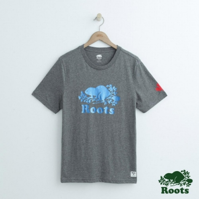 男裝Roots 金屬庫柏海狸短袖T恤-灰色
