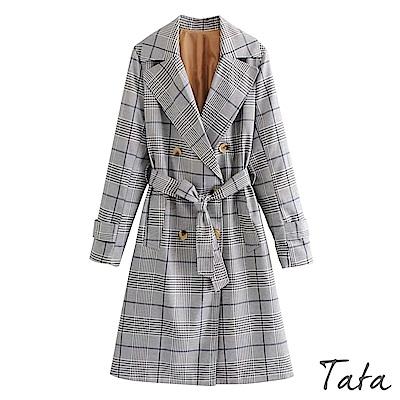 格紋綁帶鈕釦長版外套 TATA