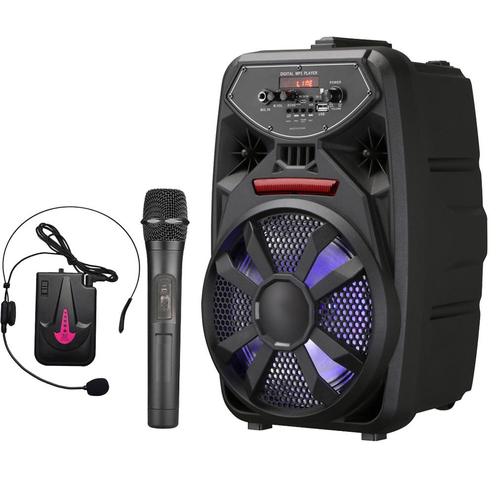 大聲公歡樂型無線麥克風多功能行動音箱/喇叭 (手持+耳麥組)