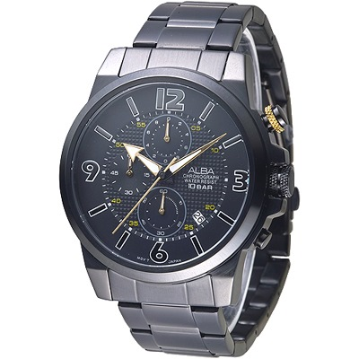 ALBA 極速賽車儀錶盤三眼計時男錶-全IP黑(AM3363X1)/46mm