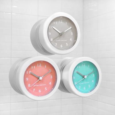 迷你輕巧 廚房 浴室 防水防潮 吸盤時鐘 - 灰/藍/粉