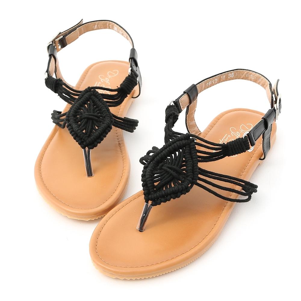 D+AF 繆思女神.精緻手工針織夾腳涼鞋*黑
