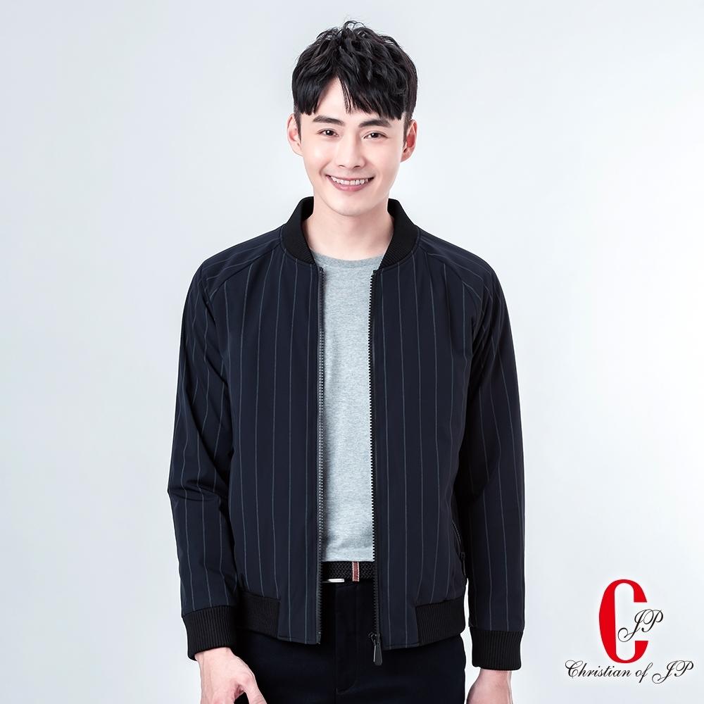 Christian 態度棒球領鋪棉夾克_丈青條(KW806-58)